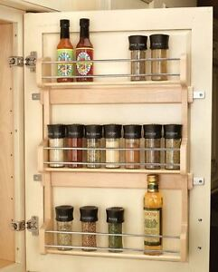 Details About 21 Pantry Door Mount Wood Spice Rack Kitchen Cabinet Shelf Storage Organizer