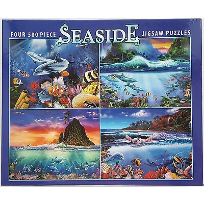 CEACO® 4 Pack 500pc SEASIDE • NAUTICAL • OCEAN • PUZZLES Jig Saw USA MADE