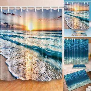 3D-Blue-Sea-Beach-Polyester-Bathroom-Shower-Curtain-Waterproof-Sheer-Mat-Set-m