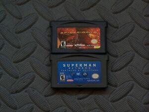 Lot of 2 Nintendo Game Boy Advance GBA Games Spiderman 2 Rep + Superman Returns
