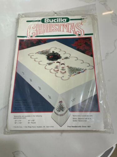 CHOICE Bucilla Christmas Cross-Stitch Tablecloth Holiday Tree Kit 52x70 60 Round