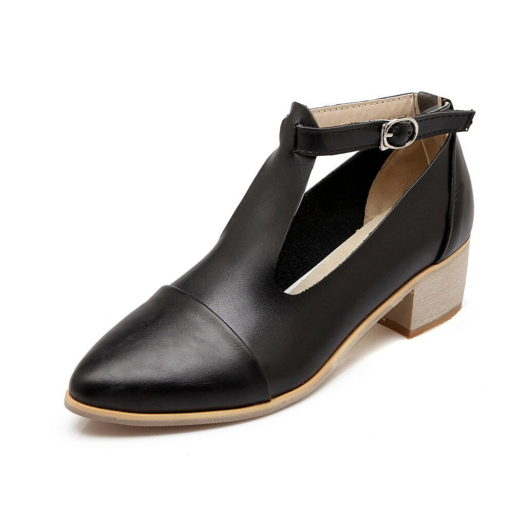 Womens Pointy Toe Low Block Heel T T T Strap Ankle Buckle shoes Casual Pumps Size 9fc79e
