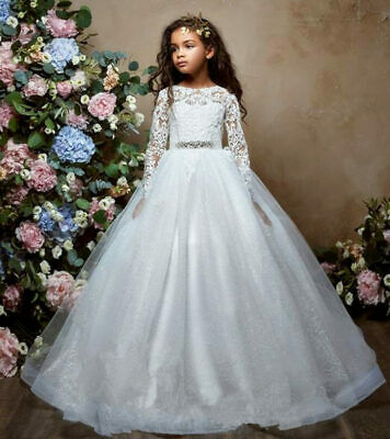 Butterfly Flower Princess Girl Dresses Wedding Prom Bridesmaid Birthday Party