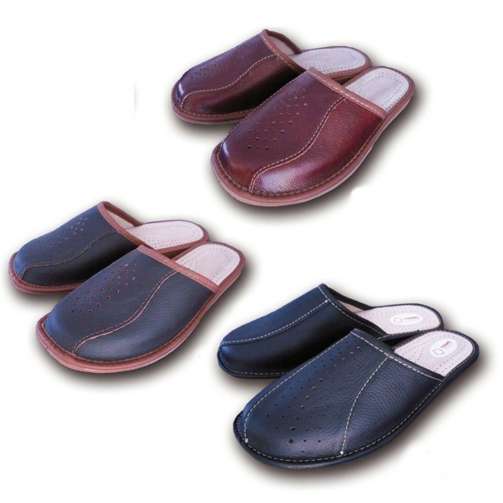 New Men`s Leather Slippers Black Brown 8 Slip On Shoes 7 8 Brown  9 9.5 10.5 11 11.5 10e74e