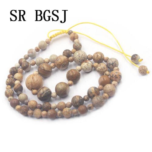 "Natural Graduated Gemstone Beads Handmade Réglable Bijoux Collier 19/""4-12mm"