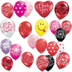 SAINT-VALENTIN-6-x-Latex-11-034-BALLONS-Helium-Air-Qualatex-Amour-C-urs-Rouge