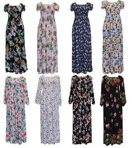 New-Womens-Cotton-Long-Sleeve-Short-Sleeve-Summer-Beach-Holiday-Maxi-Dress