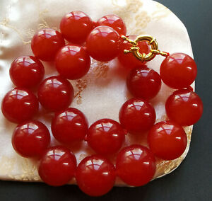 Large-Red-Jade-choker-necklace-Round-Smooth-16mm-Beads-Knotted-18-034-20-034-24-034