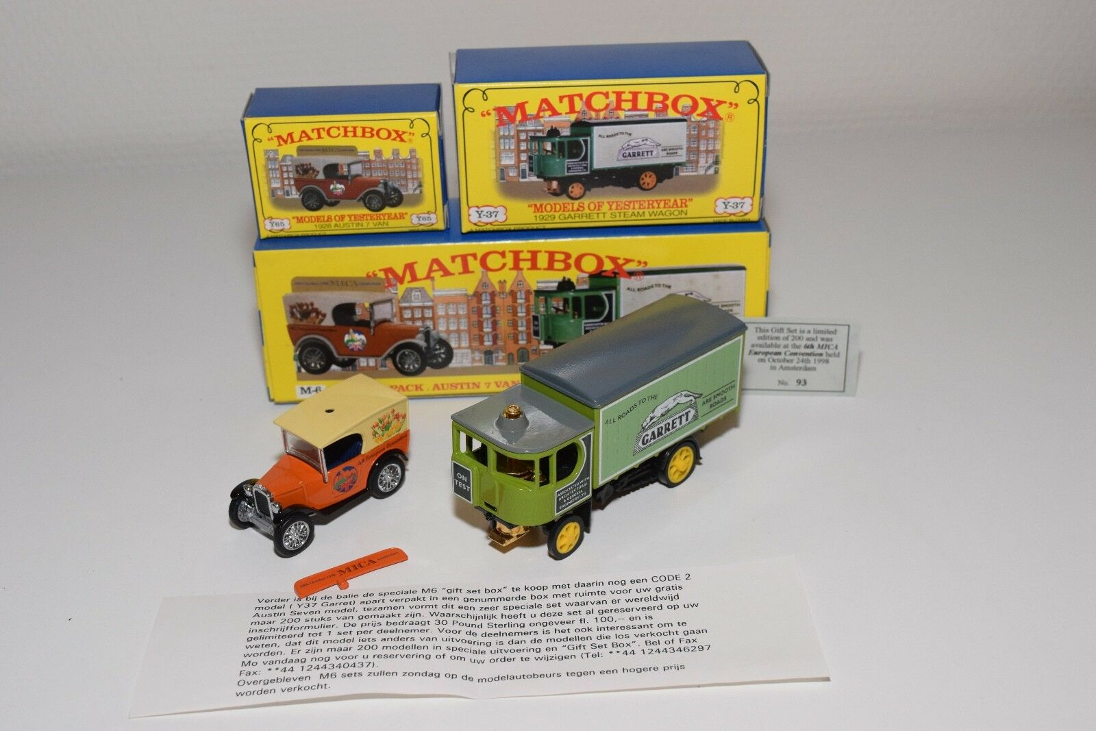 ^^^ MATCHBOX YESTERYEAR M6 6TH MICA CONVENTION 1998 AMSTERDAM MIB 93 200 RARE