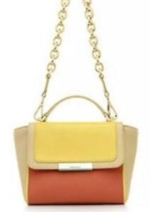 5b8914e935f Image is loading Tiffany-Co-Leather-Bag-Yellow-Orange-Colorblock-Quinn-