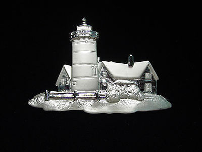 """JJ"" Jonette Jewelry Silver Pewter 'House with Fence & Lighthouse' Pin"