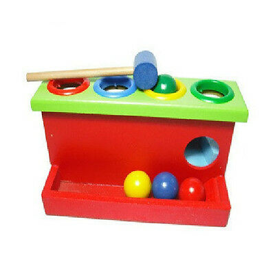 wooden toy two-layer knockout table knock ball baby gift early educational 1set