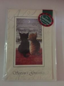 039-Watching-amp-waiting-Black-amp-Tabby-kitten-cat-15-small-Christmas-cards-SALE