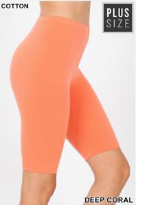 Zenana Outfitters Premium 2X  Stretch Cotton Spandex Bermuda Shorts  Coral