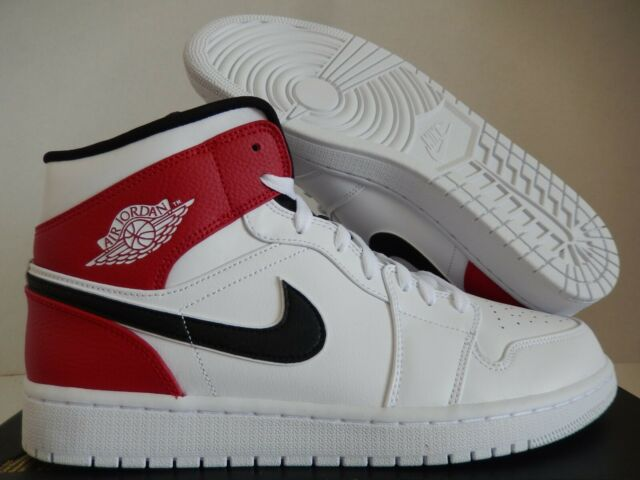 Nike 554724-116 Air Jordan 1 Mid Trainers for Men - white/red