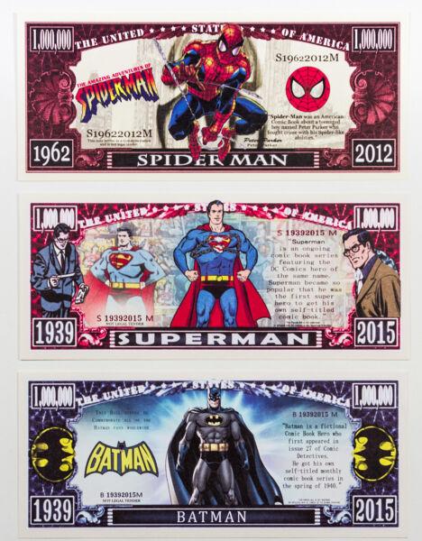 1 Set 3 Batman, Superman, Spiderman Fantasy Papier Monnaie Un Million Dollars