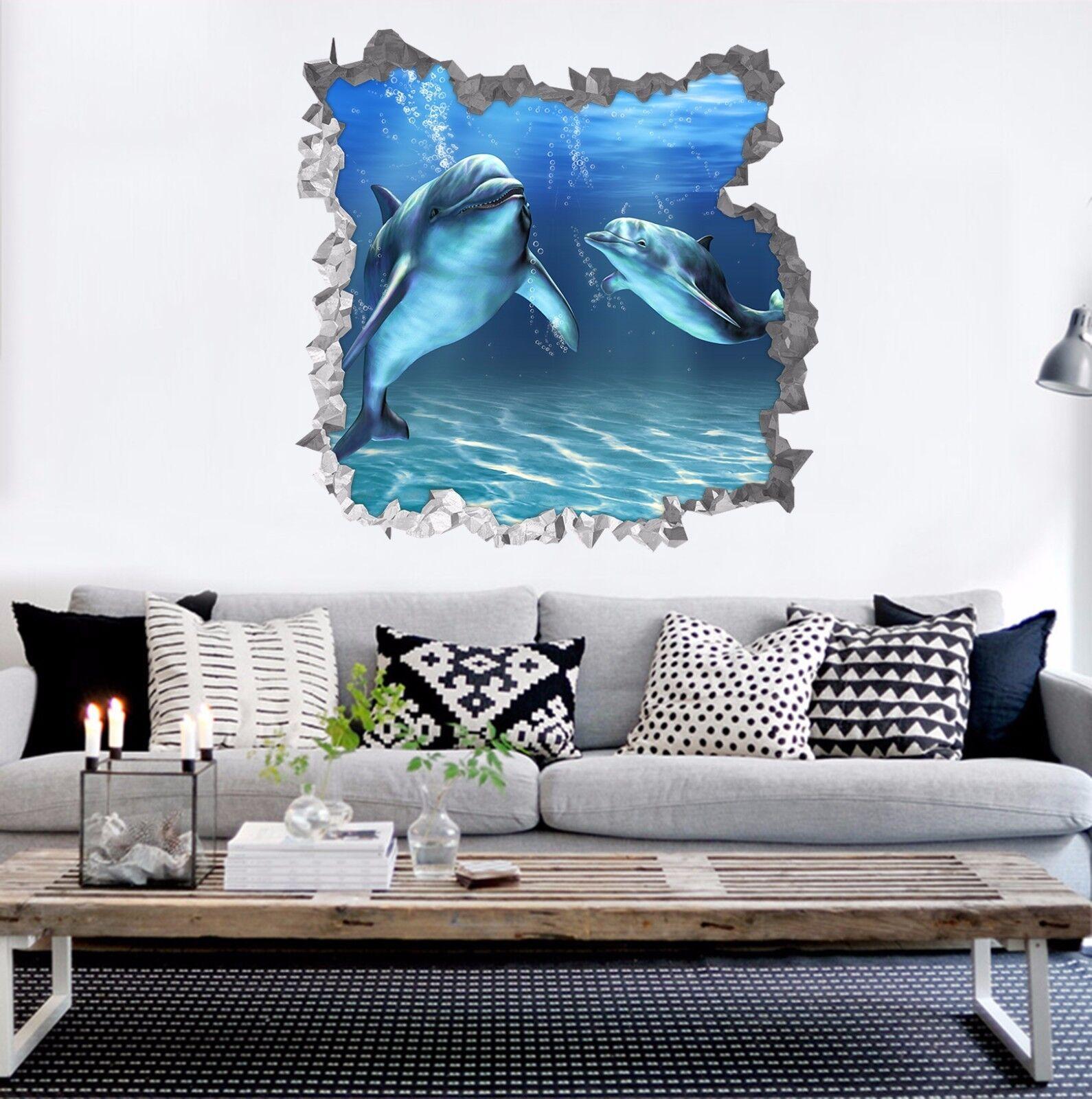 3D Zwei Delphin 753 Mauer Murals Mauer Aufklebe Decal Durchbruch AJ WALLPAPER DE
