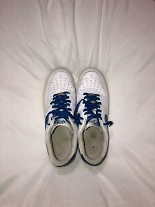a707c2a967e06 Nike Air Force 1 White Old Royal Blue Leather Classic Rare Size 11.5 ...