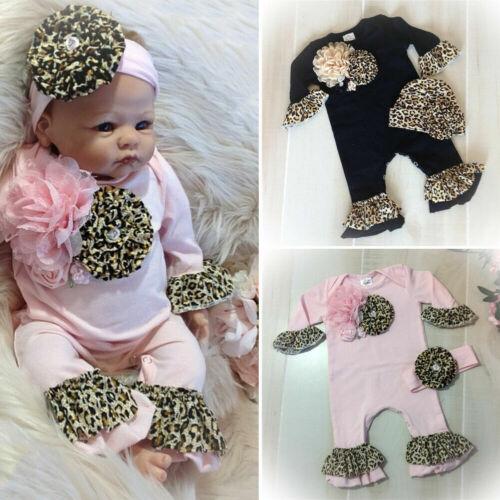UK 2PCS Newborn Baby Girl Clothes 3D Floral Long Sleeve Romper Jumpsuit Outfits