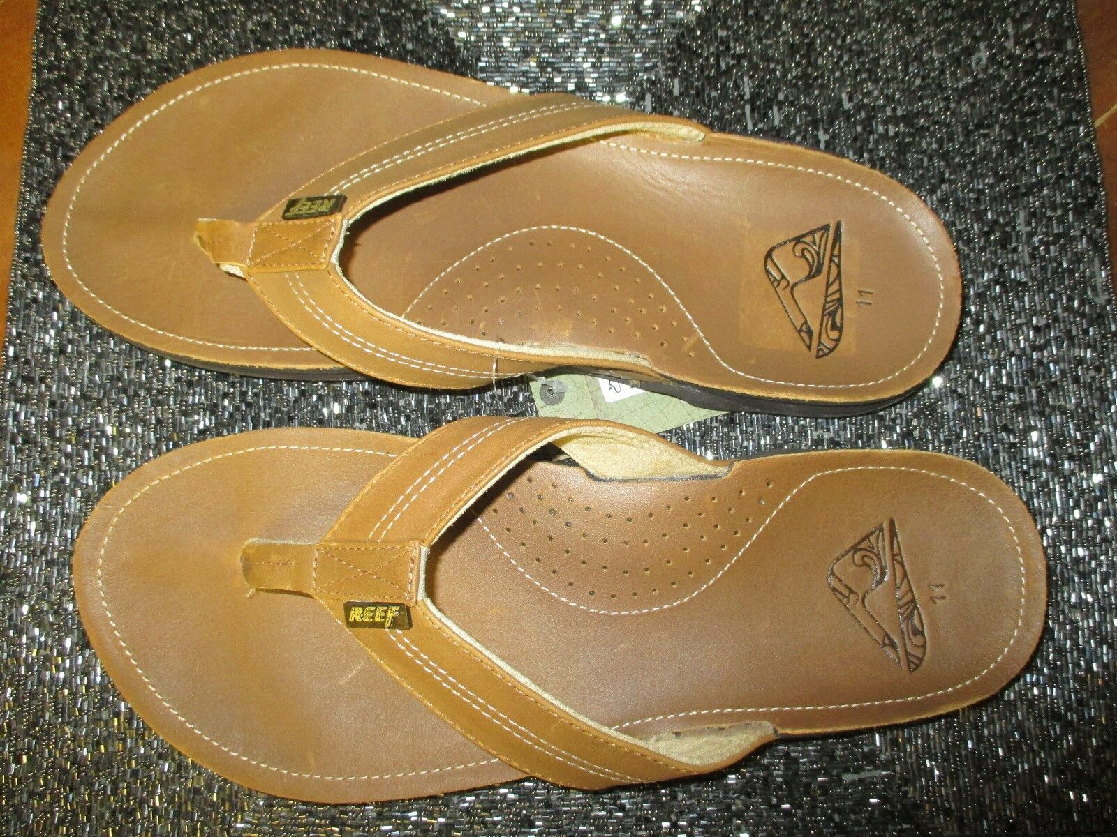 NEW REEF SANDALS 7.5 8 Mens J-Bay LEATHER FLIP FLOPS SHOES Tan Pecan