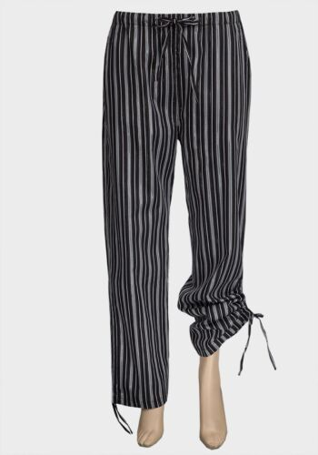 NEW Ladies Wide Leg Drawstring Cuff Black Stripe Trousers