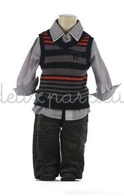 NWT Deux par Deux Neige Boys Three Piece Set with Vest Shirt Pants 5 6 7 8 10y