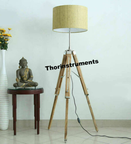 Vintage Nautical Tripod Floor Lamp Natural Teak Wooden Shade Stand Home Decor