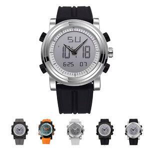 La imagen se está cargando Reloj-de-Pulsera-Hombre-Digital -Analogico-Acero-Alarma- 555004603fd6