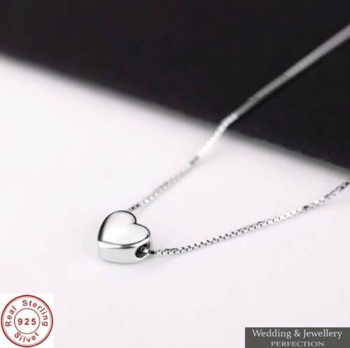 925 Sterling Silver Necklace Crystal Rhinestone Pendant Women Jewelry Love Heart