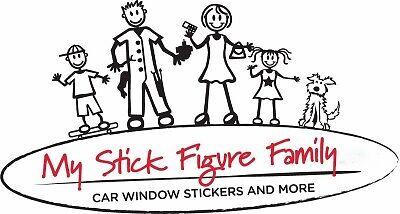 MY STICK FIGURE FAMILY Car Window StIckers Male Snowboarding M25