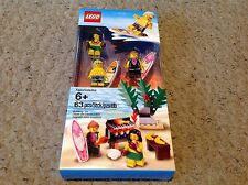Lego set of 3 Hawaiian Surfers, Hula Girl, and Beach Barbeque Set.  850449