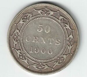 NEWFOUNDLAND-1900-50-CENTS-HALF-DOLLAR-VICTORIA-STERLING-SILVER-CANADIAN-COIN