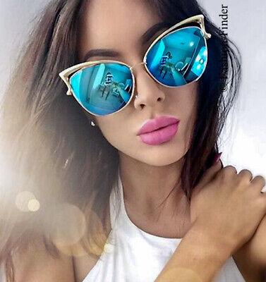 "Large BIG Cat Eye /""LEA/"" Mirror Reflective Nocturnelle Fashion Sunglasses Glasses"