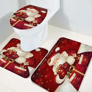 3pcs-Badematte-Weihnachten-Duschvorhang-Teppich-Vorleger-WC-Garnitur-Deckel-Matt