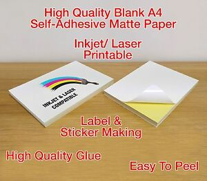 A4 White MATTE Self Adhesive / Peel & Stick Sticker Mailing Label Printing Paper