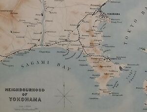 1907 Japan Japanese Tourist Map Yokohama Sagami Bay Yokosuka
