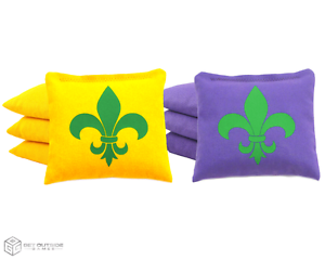 Set of 8 Mardi Gras Classic Series Cornhole Bags by Get Outside Games
