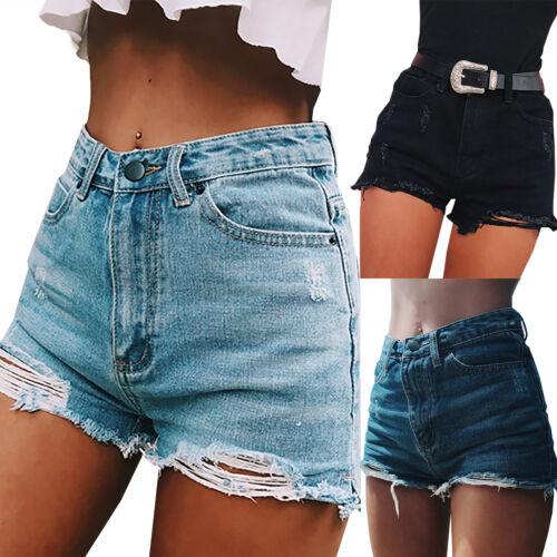 Womens Summer Beach Stretch High Waist Jeans Denim Shorts Pants Casual Hotpants