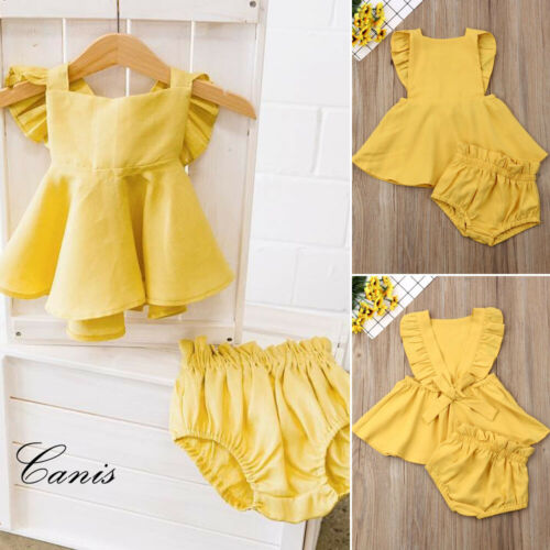 0-24M Infant Kid Girl Summer Clothes Ruffle Dress Tops Shorts Briefs Outfits Set