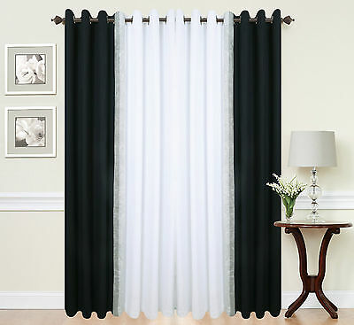 DIAMANTE pair of 2 TONE lined eyelet ring top curtains b&w green red purple