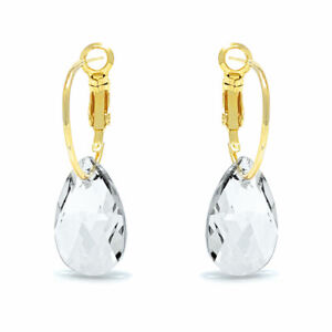 Small-Drop-Earrings-with-White-Clear-Pear-Crystals-from-Swarovski-Gold-Plated