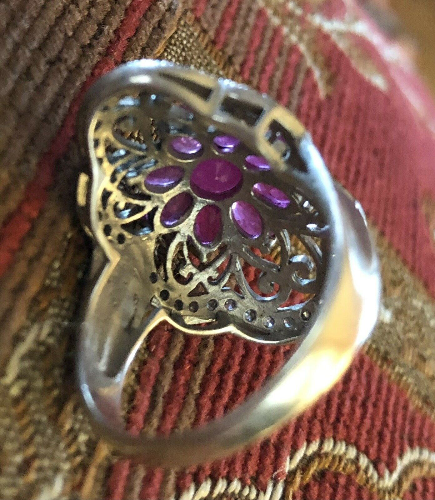 Sterling Silver Ruby Floral Flower Ring - image 8