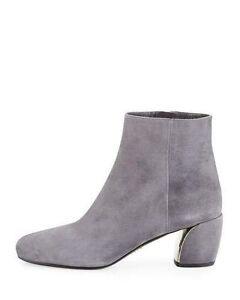 ddd53988bf NEW PRADA Suede 55mm Ankle Booties Metal Heels Gray Nebbia 41 / 11 ...