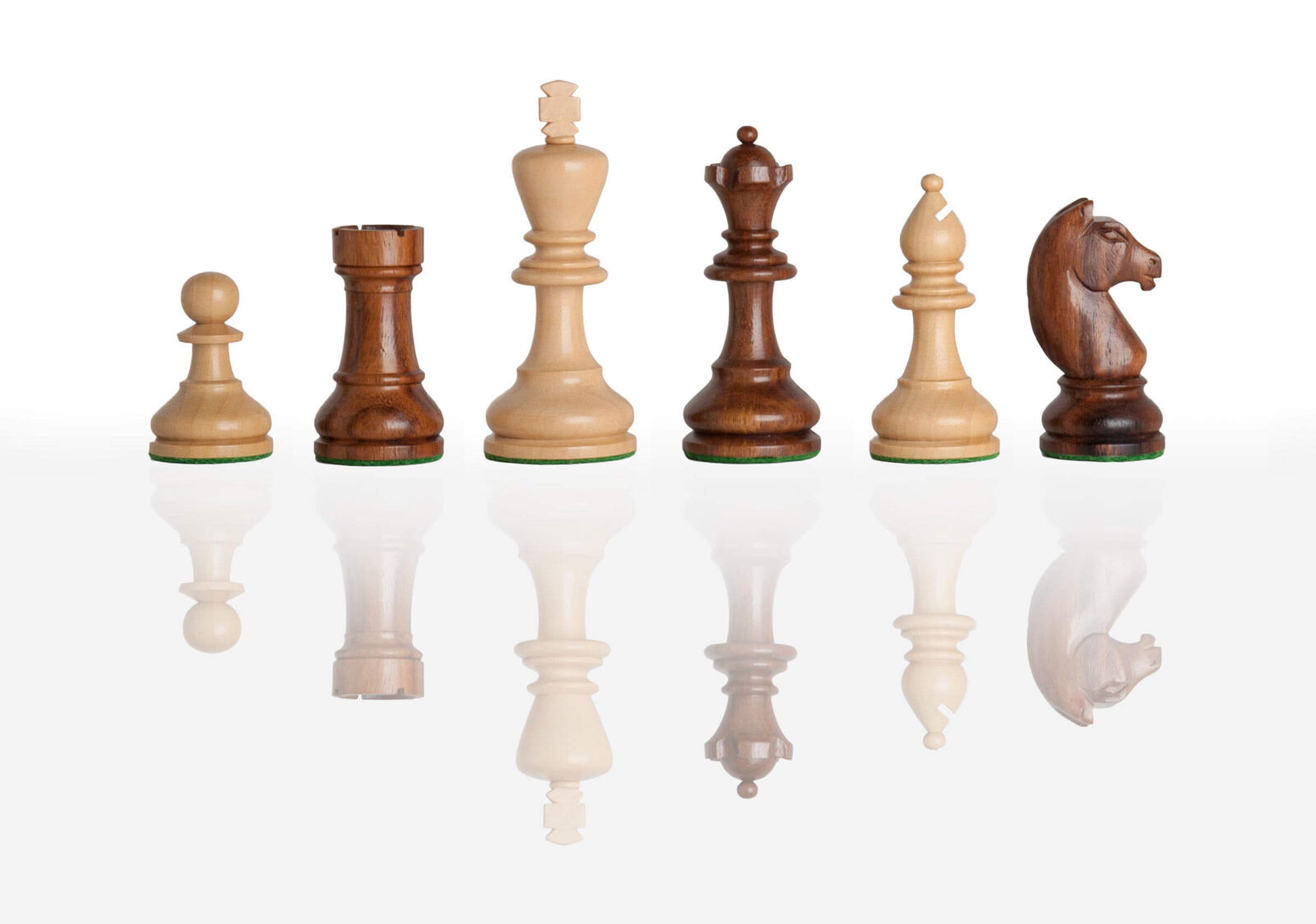 The Modern Chess Set - Pieces Only - 3.75  King - golden pinkwood