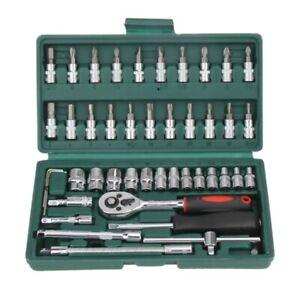 Caliente-Profesional-46pzs-Juego-de-llave-de-tubo-1-4-pulgada-Destornillador-RA5