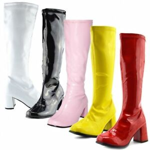 NEW WOMEN/'S GIRLS FANCY DRESS 1960/'S 70/'S KNEE HIGH QUALITY GO GO RETRO BOOTS