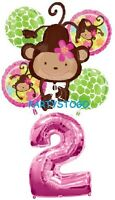 Monkey Love 2nd Birthday Party Balloons Bouquet Supplies Decorations Girl Baby