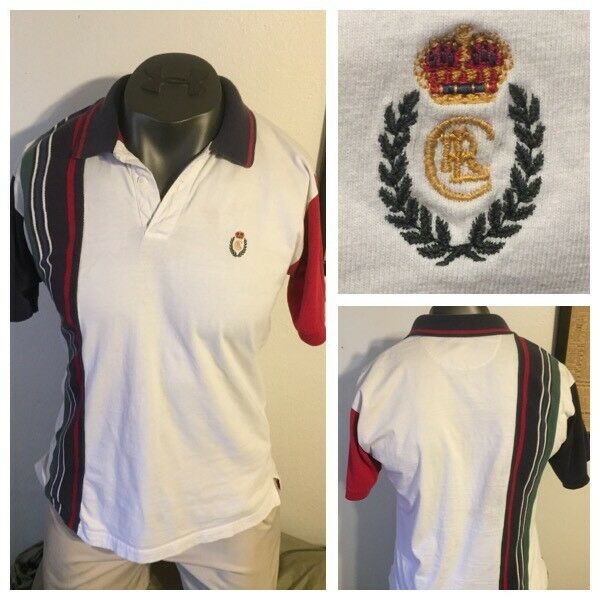 90's Chaps Ralph Lauren CRL 91 92 93 Stadium Striped Polo Shirt Sz L CPRL