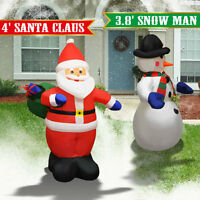 4' Air Blown Inflatable Santa Claus &snowman Christmas Decor W Inside Lights