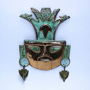 Decorative Mesoamerica Mayan Aztec Style Hammered Copper Metal Head Wall Art